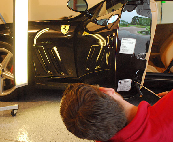 Ferrari dent repair on location with Jake Kelm of Dent Werks PDR in MN